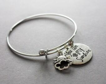 "Sentiment bangle, ""you are my sunshine"", charm bracelet."