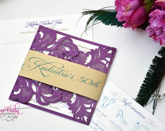 Sample - Custom Purple, Turquoise and Gold 50th Birthday party Invitation or wedding invitation customized in your colors