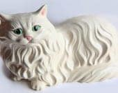 Large Vintage Ceramic Cat ~ Ceramic Persian Cat Home Decor ~ Green Eyes ~ Cat Lovers Gift