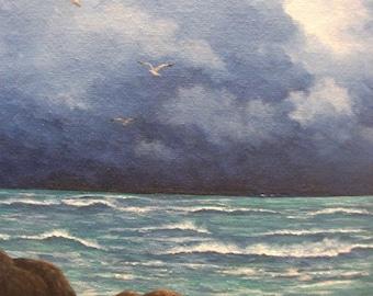 Ocean, Sea, Lake, Michigan, Wave, Clouds, Beach, Storm, Summer, Rocks, Sun, Seagull, Original Landscape Oil Painting