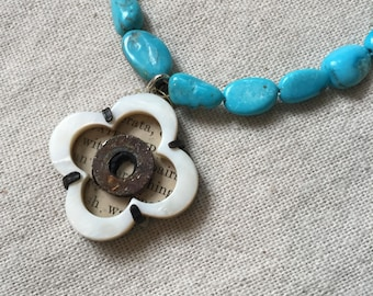 Turquoise and Mother of Pearl Clover Necklace with Rusty Washer