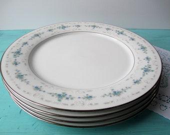 Vintage Noritake Dinner Plates Frolic Aqua and Blue Floral Set of Four