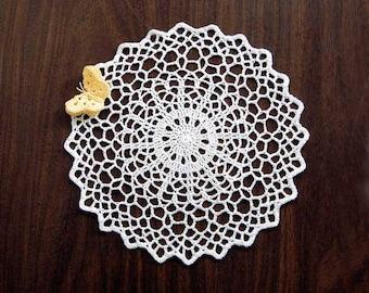 Butterfly Doily, Crochet Lace Geometric Table Decor, New, Modern Home Decor, Fiber Art, White Doily, Maize Yellow Butterfly