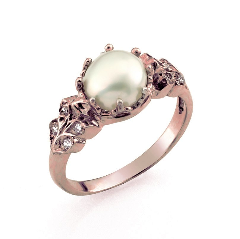 Pearl Wedding Ring: Rose Gold Engagement Ring Vintage Style Engagement Ring Rose