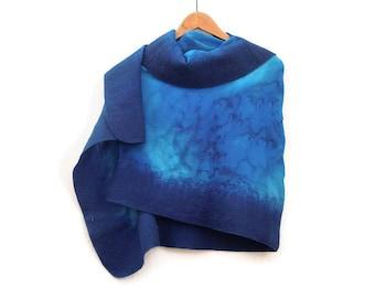 blue shawl, felted silk shawl, handdyed silk shawl