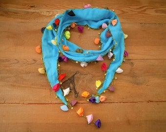 turquoise blue scarf, cotton hairband