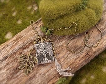 Tree of Life Bird Acorn Charm Necklace
