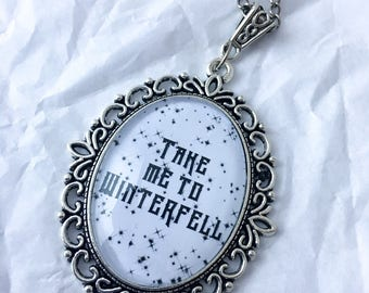 Take Me To Winterfell Necklace Large - Winterfell necklace - House Stark pendant - Game of Thrones Necklace - GoT Stark charm - ASOIAF charm