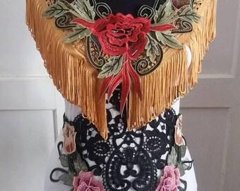 Body Harness, Gypsy, boho, lace filigree, fringes, dance, noire, fusion, boudoire, performance, Marie Antoinette, lingerie, women,lace,sexy