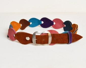 Vintage 60s Suede Leaf Belt / Rainbow Cutout Leather Buckle Belt