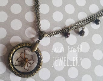 Brown Spider Necklace