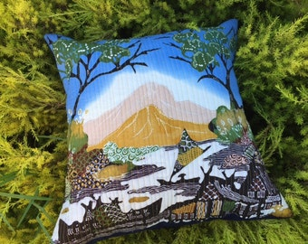 Bali Hand Painted Batik Scene Pillow Cover