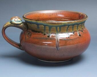 Handmade pottery soup mug ceramic chili mug cereal ice cream bowl iron red 20 oz 3955