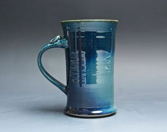 Pottery coffee mug, ceramic mug, stoneware tea cup navy blue 14 oz 4022