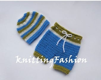 SALE 30% ON SALE Baby Boy Coming Home Outfit _ Baby Boy First Outfit _Baby Boy Hat and Crochet Shorts _ Newborn Boy Crocheted Beanie and Sho