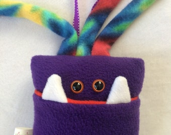 Tooth Fairy Pillow | Purple and Tie Dyed Tooth Monster | Tooth Fairy Monster Pillow