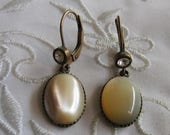 Vintage Gold Tone Drop Style Pierced Earrings with Cream-Colored Moonstone