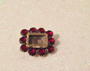 Early Victorian Hair Garnet Mourning Brooch