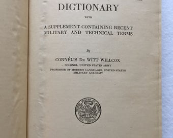 WW1 French-English Military Technical Dictionary - from H.Q. Co. 121st Field Artillery 32nd Division