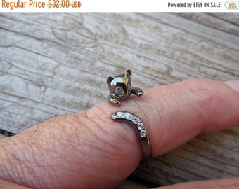 ON SALE Black cat ring handmade in sterling silver