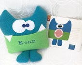 Soft Monster Plush, Sherman the Tooth Fairy Pillow, Personalized Tooth Fairy Pillow, whimsical plush toy, Funny kids toy, Tooth Chart