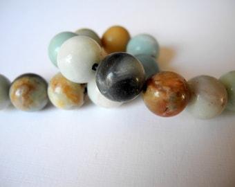 Large Hole Gemstone Amazonite Beads 14mm Faceted 2mm Hole 14 Beads
