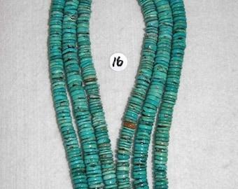 Turquoise, Turquoise Heishi, 8-9 mm, Natural Stone, Aqua Turquoise, Rondelle, Natural Turquoise, Semi Precious, Half Strand, AdrianasBeads