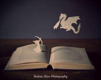 Surreal Photography, Book, Print, Photo, Photograph, Her Own Hero, Dragon, Silhouette, Fantasy, Bow and Arrow, Nursery, Decor, Home, Art