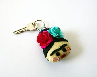Frida Kahlo keychain, handmade, hand-embroidered
