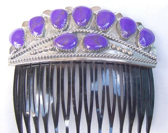 Vintage Navajo sugilite hair comb Wilson Begay Native American hair accessory decorative comb hair jewelry hair ornament