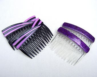 4 vintage Karina hair combs hair accessories 1980s purple theme hair ornament decorative comb (AAX)