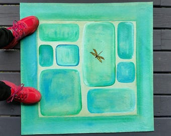Turquoise Dragonfly- Salt Spring Floor Art