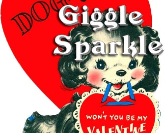 Dog Doggie Puppy Valentine – Vintage Digital Download – Kitschy Cute Clipart –  2 Instant Download Printable Images – Valentines Day