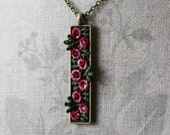 Rose Pendant, Long Necklace, Pink Floral Jewelry, Burgundy Necklace, Hippie Jewelry, Unique Gift For Women, Mom, Wife, Rectangle Pendant
