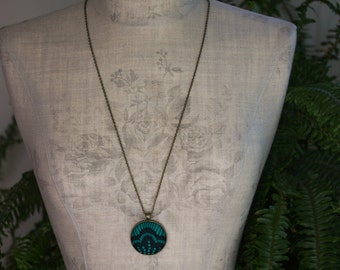 Black And Green Pendant, Art Deco Necklace, Black Lace Jewelry, Emerald Green Jewelry, Goth, Geometric, Unique Jewelry For Women