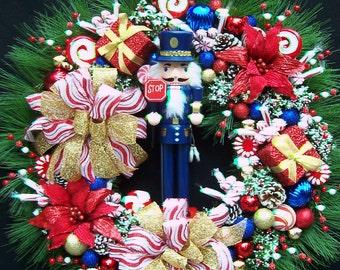 POLICE NUTCRACKER CHRISTMAS Holiday Winter Wreath