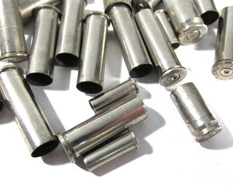 Silver Bullet Casings Assorted Lot BRASS Bullet Casings Silver Tone (24) BULLETS Jewelry Art Supplies Empty Brass Cases Reloads (A79)