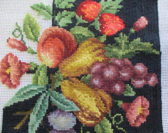 vintage needlepoint fruit motif canvas unfinished preworked 23 inches square no yarn included no instruction