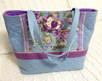 Tea pots, tea cups, Tea Time Tote, Large Blue Lavender Quilted Tote, Vintage Lace cloth purse bag Handmade Handbag, Mother's Day gift idea