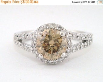 ON SALE Fancy Champagne Brown Diamond Engagement Ring, Wedding Ring 1.84 Carat 14k White Gold Handmade Halo Pave Certified