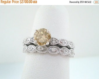 ON SALE 1.18 Carat Fancy Champagne Diamond Engagement Ring Set, Bridal Wedding Ring Set 14K White Gold Handmade