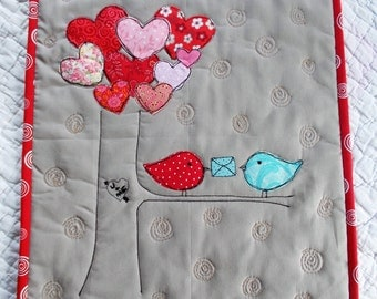 Hearts  Quilted  Wall Hanging