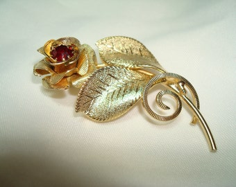 1970s Golden Rose with Ruby Red Jeweled Center Pin.
