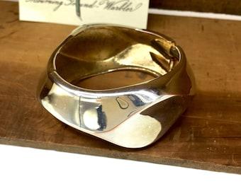 Chunky Brass Bangle, Gold Tone Bracelet, Hinged Bangle, Vintage Jewelry