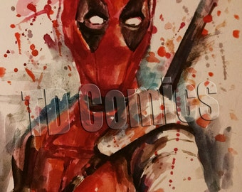 deadpool print, marvel watercolors painting, prints comics prints, comic art, superheros posters, comics prints,marvel comics,Valentine gift