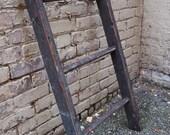 Vintage wood ladder 3 rung hay loft Primitive rustic weathered 38 x 19 inch Blanket rack Lighting Display hanger barn salvage Black Red