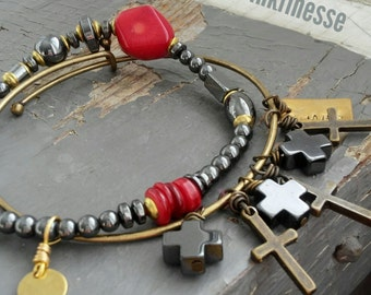 Madonna - expandable & stretch cord pair, black agate cross, red coral, hematite, stamped tag, bracelet set