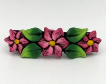 Red Flower Barrette 3 Inches; Christmas Pointsettia; Floral Hair Accessory; Winter Fashion; Style No: REF03