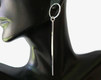 Long dangle earrings, geometric earrings, Industrial bar earring, Sterling silver earrings, silver drop earrings