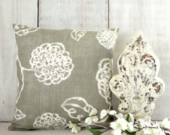 Gray Ivory Taupe Pillow Cover - Taupe and Ivory Floral Pillow - Modern Gray Pillow Cover- Modern Urban Cottage